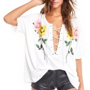 Wildfox Long Stems Maxwell Rose Tee Shirt Lace Up